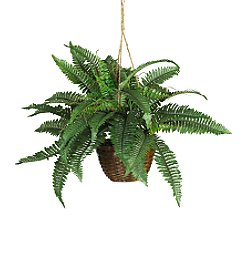 Nearly Natural® Boston Fern Hanging Basket Silk Plant