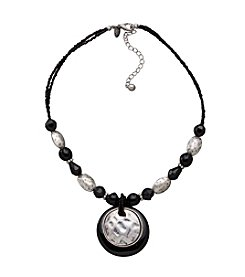 Laura Ashley® Nested Circle Pendant Necklace - Silvertone/Black