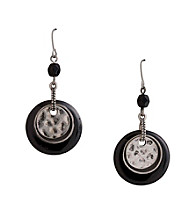 Laura Ashley® Nested Circle Drop Earrings - Silvertone/Black