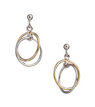 Two-tone Sterling Silver Double Ring Drop Earrings
