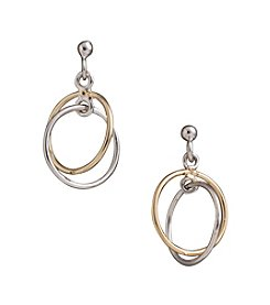 Danecraft Two-Tone Sterling Silver Double Ring Drop Earrings