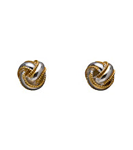 Two-tone Sterling Silver Love Knot Button Earrings