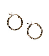 24K Gold-Over-Sterling Silver Small Ridge Hoop Earrings
