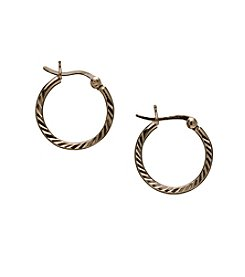 Danecraft 24K Gold-Over-Sterling Silver Small Ridge Hoop Earrings