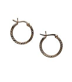 Danecraft 24K Gold-Over-Sterling Silver Small Ridge Hoop Earrings