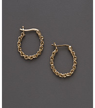 24K Gold-Over-Sterling Silver Small Link Hoop Earrings
