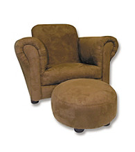 Trend Lab Stuffed Club Chair with Ottoman - Solid Brown