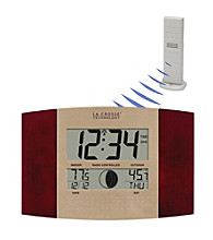 La Crosse Technology® WS-8117U-IT Digital Atomic Wall Clock with Thermometer - Cherry