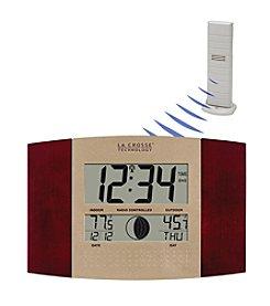 La Crosse Technology® WS-8117U-IT Digital Atomic Wall Clock with Thermometer - Cherry