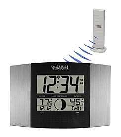 La Crosse Technology® WS-8117U-IT Digital Atomic Wall Clock with Thermometer - Aluminum
