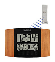 La Crosse Technology® WS-8117U-IT Digital Atomic Wall Clock with Thermometer - Oak
