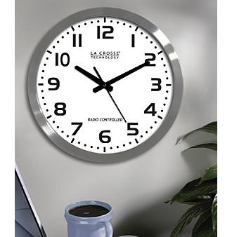 "La Crosse Technology 16"" Atomic Metal Analog Clock WT-3161WH"