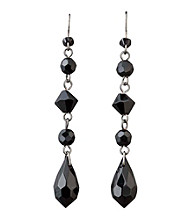 BT-Jeweled Social Occasion Basic Linear Drop Earrings - Jet