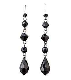 BT-Jeweled Social Occasion Basic Linear Drop Earrings - Jet