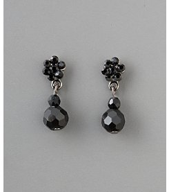 Social Occasion Basic Stone Flower Bead Earrings - Jet