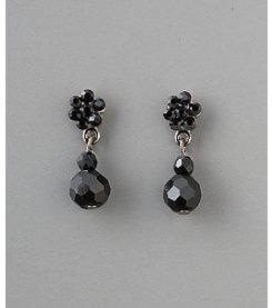 Social Occasion Basic Stone Flower Bead Earrings - Jet