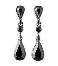 BT-Jeweled Social Occasion Basic Stone Teardrops Earrings - Jet
