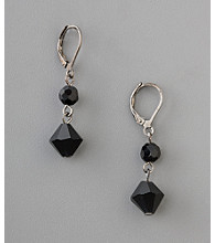 BT-Jeweled Social Occasion Jet Basic Drop Euro Earrings