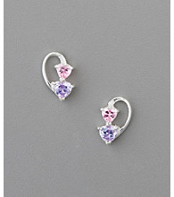 Sterling Silver Heart Cubic Zirconia Earrings - Pink/Lavender