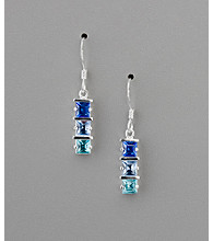 Sterling Silver Square Shaped Stone Drop Earrings - Blue