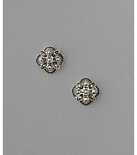 Sterling Silver Button Starburst Marcasite Earrings