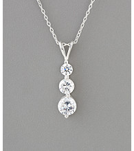 Sterling Silver Graduated Cubic Zirconia Drop Necklace