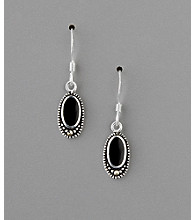 Sterling Silver Marcasite and Onyx Oval Drop Earrings