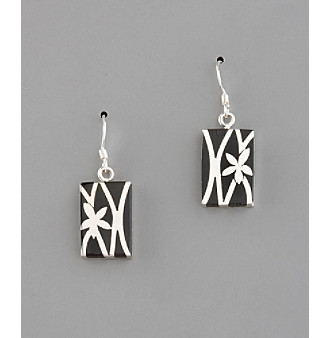 Sterling Silver Floral Pattern Rectangle Earrings - Black