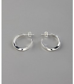 Marsala Sterling Silver Twist Half Hoop Earrings