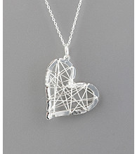 Sterling Silver Barb Wire Sideways Heart Pendant