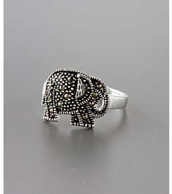 Marsala Sterling Silver Marcasite Elephant Ring