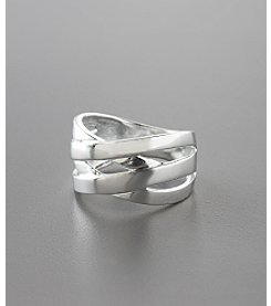 Marsala Sterling Silver Polished Crossover Ring