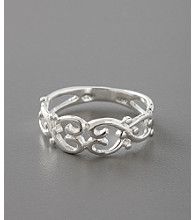 Sterling Silver Polished Open Heart Scroll Ring