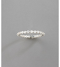 Sterling Silver Cubic Zirconia Prong Set Eternity Ring