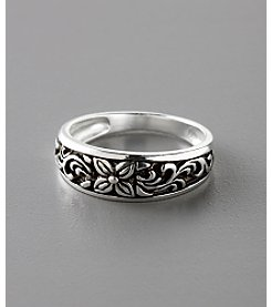 Marsala Sterling Silver Etched Floral Ring