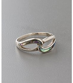 Marsala Sterling Silver Paua Shell Interlock Ring