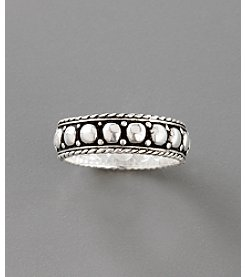 Sterling Silver Etched Dot Stack Band