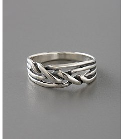 Marsala Sterling Silver Braided Ring