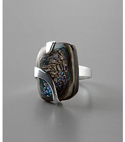 Sterling Silver Large Cabochon Paua Shell Ring