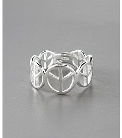 Marsala Sterling Silver Repeating Open Peace Sign Eternity Ring
