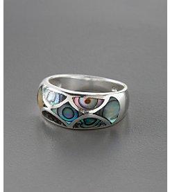Marsala Sterling Silver Mosaic Paua Shell Ring