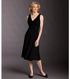 Jessica Howard Sleeveless Beaded Waist Dress - Black