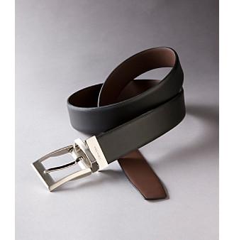 Calvin Klein Men's Black/Brown Feathered Edge Reversible Belt