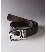 Calvin Klein Men's Black/Brown Reversible Gunmetal Buckle Belt