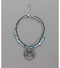 Laura Ashley® Three Row Mixed Necklace Circle Pendant - Hematite/Blue/Black