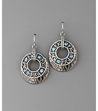 Laura Ashley® Two Piece Circle Drop Earrings - Hematite/Blue/Black