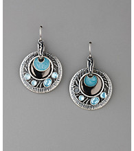 Laura Ashley® Multi Textured Disc Drop Earrings - Hematite/Blue/Black