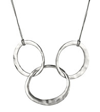 Kenneth Cole® Triple Interlocked Circle Necklace - Silvertone