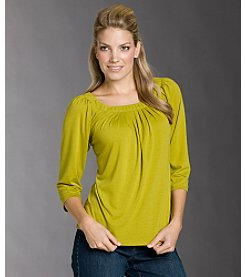 AGB® Pleated Scoopneck Knit Top