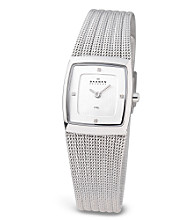 Skagen Denmark Square Face Rippled Silver Mesh Strap Watch